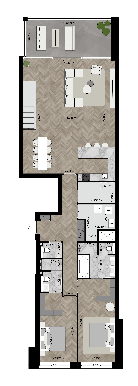Type B - Appartementen Plattegronden - Bouwnummer 2 - Eerste verdieping - Elion Park